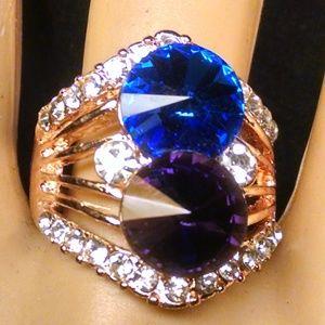 Elegant Multi Color Shiney Rhinestones Ring